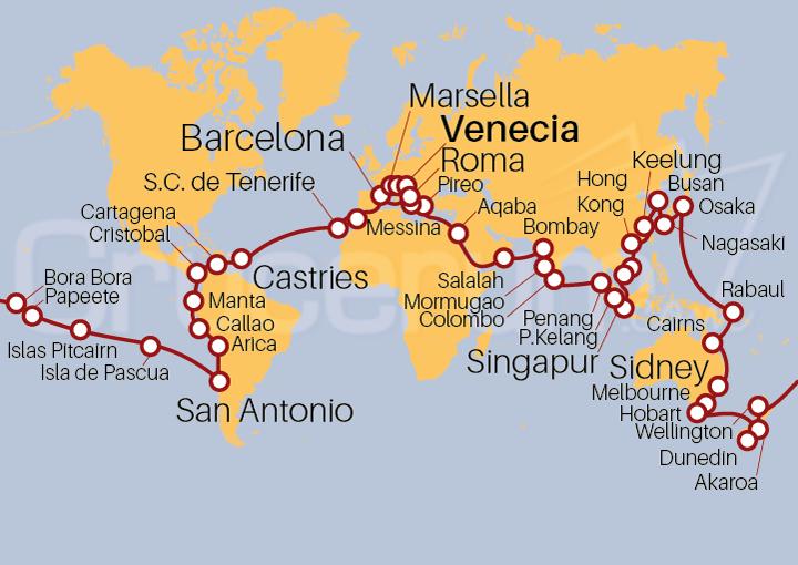 Itinerario Crucero Vuelta al Mundo 2022, 127 días