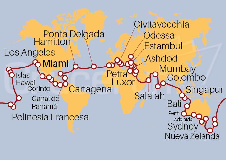 Itinerario Crucero Vuelta al Mundo 2022 desde Miami