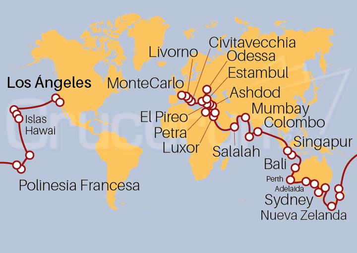 Itinerario Crucero Vuelta al Mundo 2022, 86 días