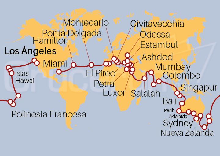 Itinerario Crucero Vuelta al Mundo 2022, 100 días