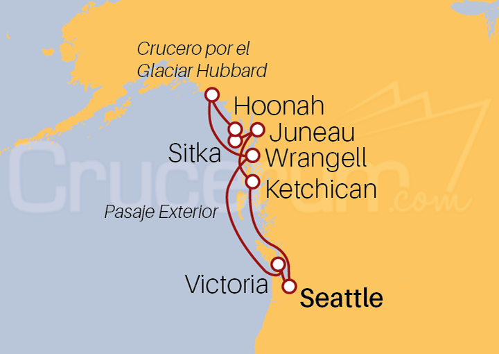 Itinerario Crucero Aventuras Glaciares