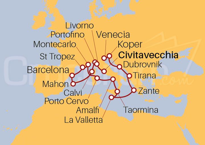 Itinerario Crucero Abrazo Europeo