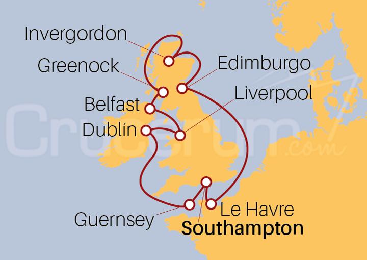 Itinerario Crucero Explorando las Islas Británicas