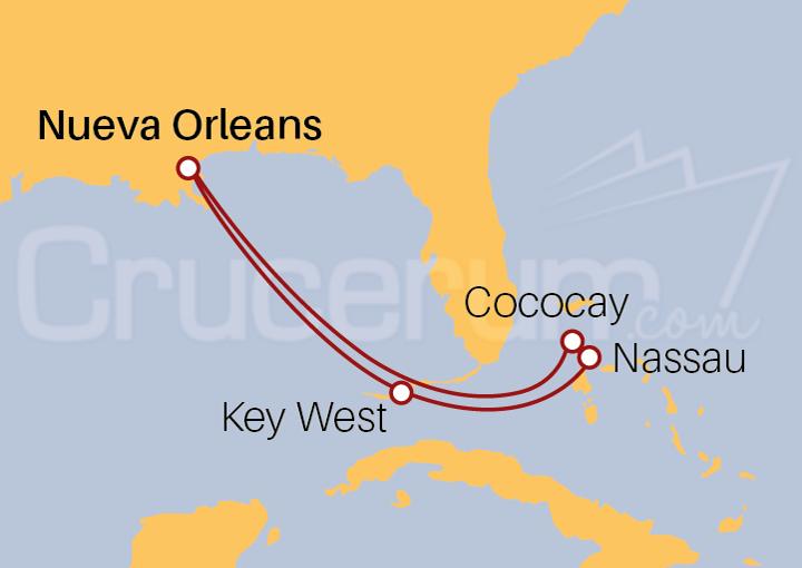 Itinerario Crucero Las Bahamas desde Nueva Orleans