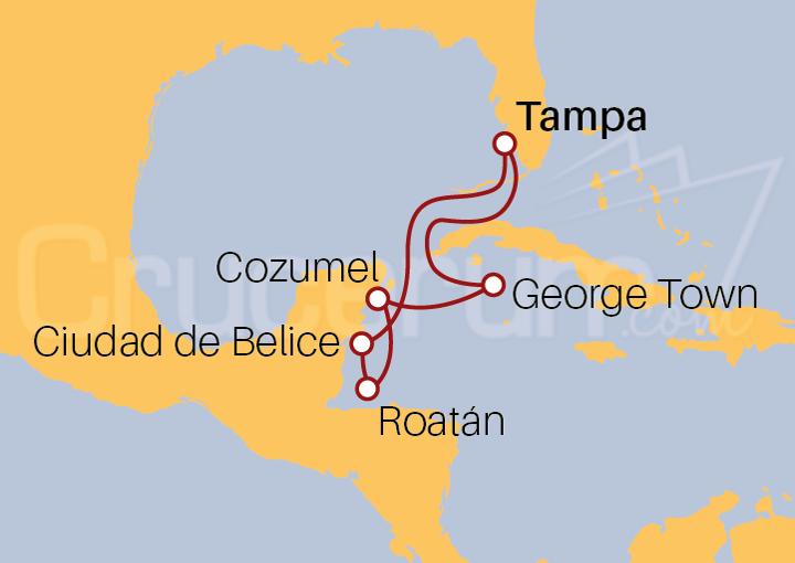 Itinerario Crucero Caribe Occidental y Sur