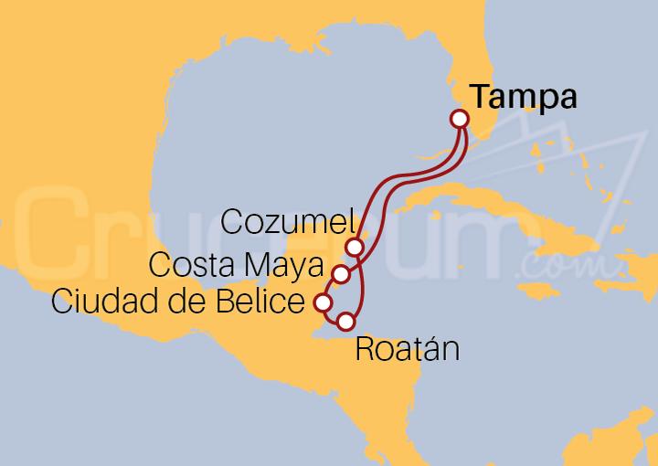 Itinerario Crucero Caribe Occidental y Caribe Sur