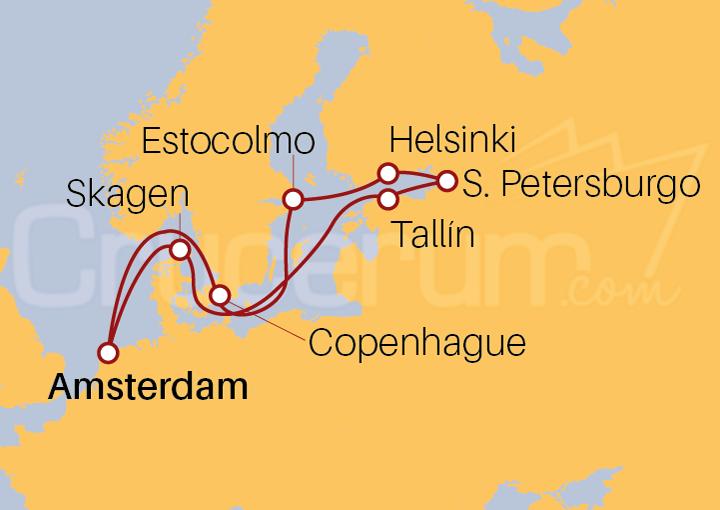 Itinerario Crucero Capitales Bálticas desde Amsterdam