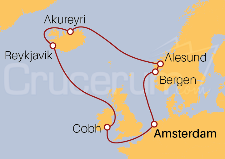 Itinerario Crucero Noruega e Islandia desde Amsterdam