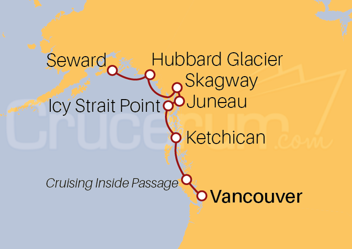Itinerario Crucero Alaska, Icy Strait Point desde Vancouver