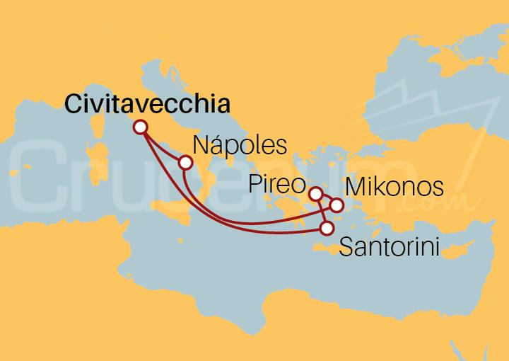 Itinerario Crucero Ruta por Islas Griegas desde Roma