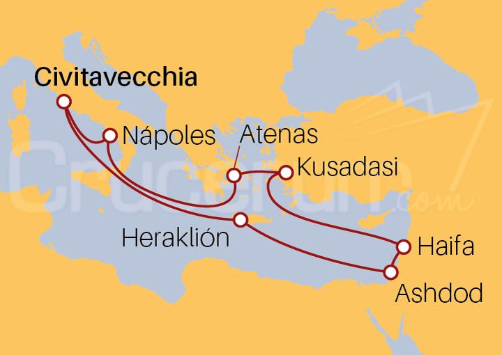 Itinerario Crucero Grecia, Israel y Turquía desde Roma