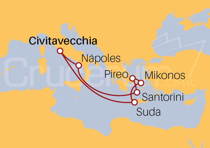 Itinerario Crucero Rumbo a las Islas Griegas desde Roma