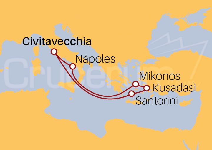 Itinerario Crucero Islas Griegas y Turquía desde Roma