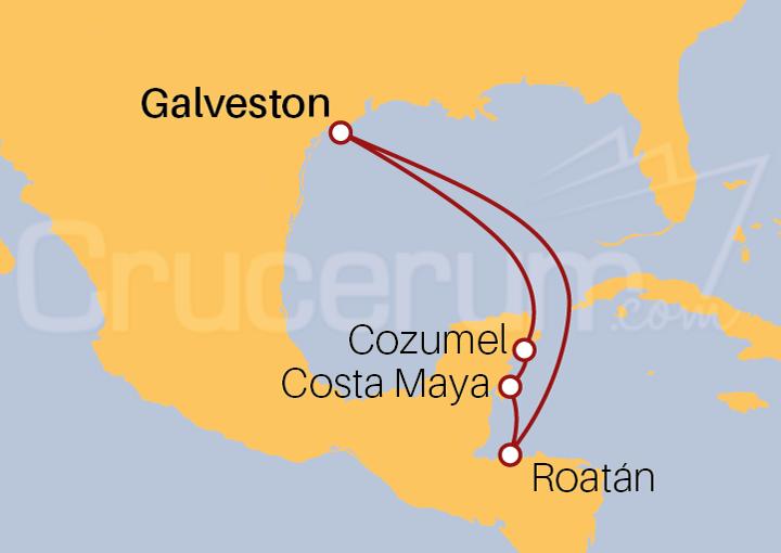 Itinerario Crucero Honduras y México desde Galveston