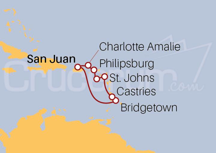 Itinerario Crucero Islas Vírgenes desde San Juan