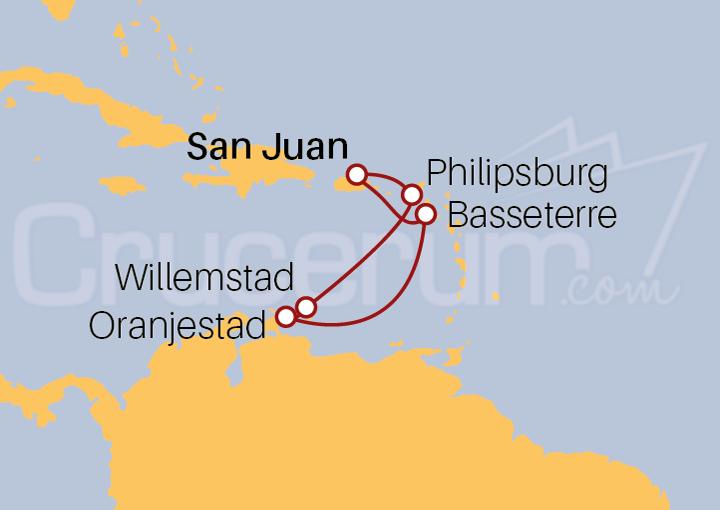 Itinerario Crucero Antillas Holandesas desde San Juan