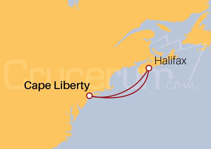 Itinerario Crucero Halifax desde Cape Liberty