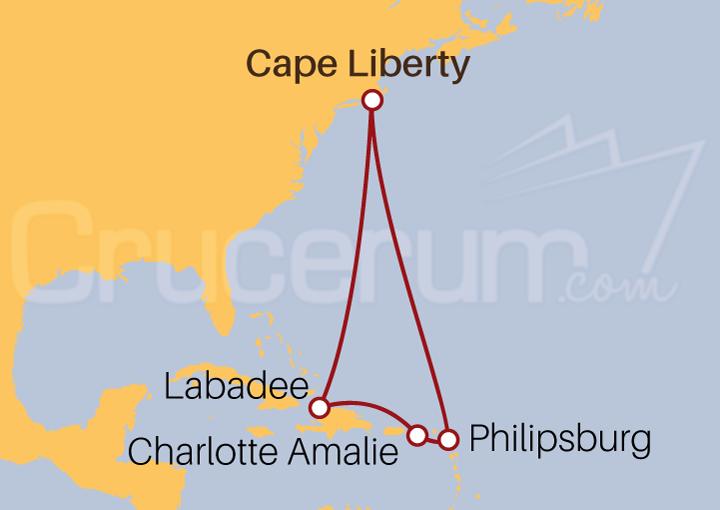 Itinerario Crucero Caribe desde Cape Liberty