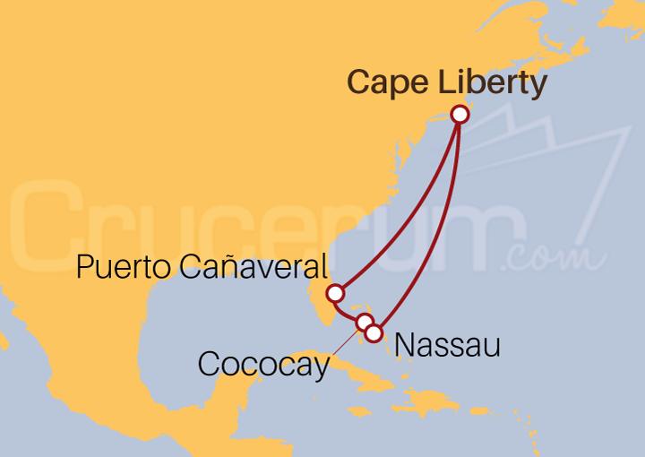 Itinerario Crucero Florida y Bahamas desde Cape Liberty