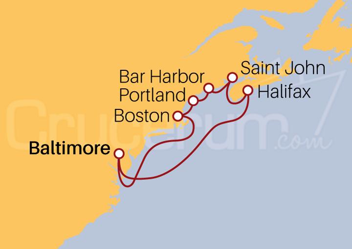 Itinerario Crucero EE UU y Canadá desde Baltimore
