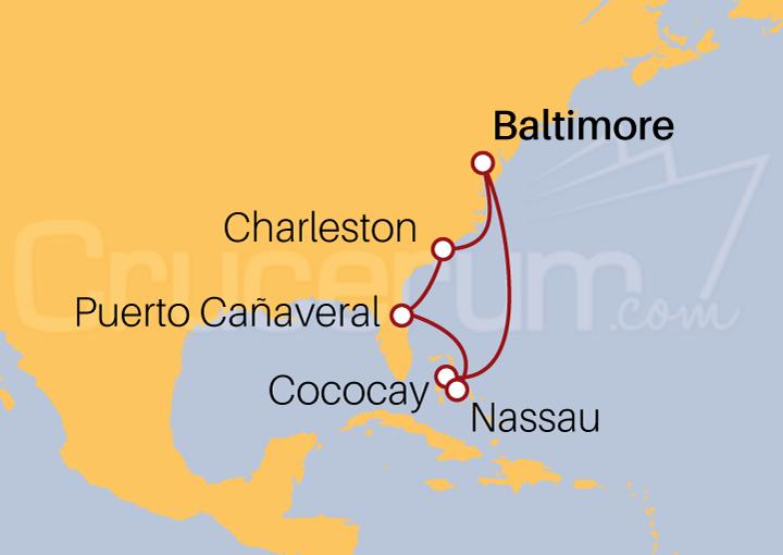 Itinerario Crucero Florida y Bahamas desde Baltimore