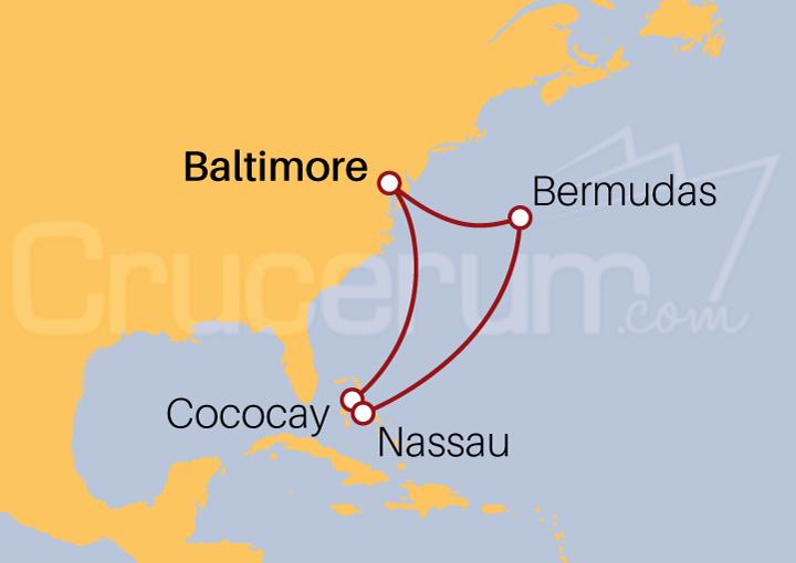 Itinerario Crucero Bermudas y Bahamas desde Baltimore