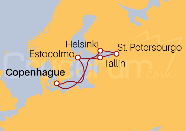 Itinerario Crucero Capitales Bálticas desde Copenhague