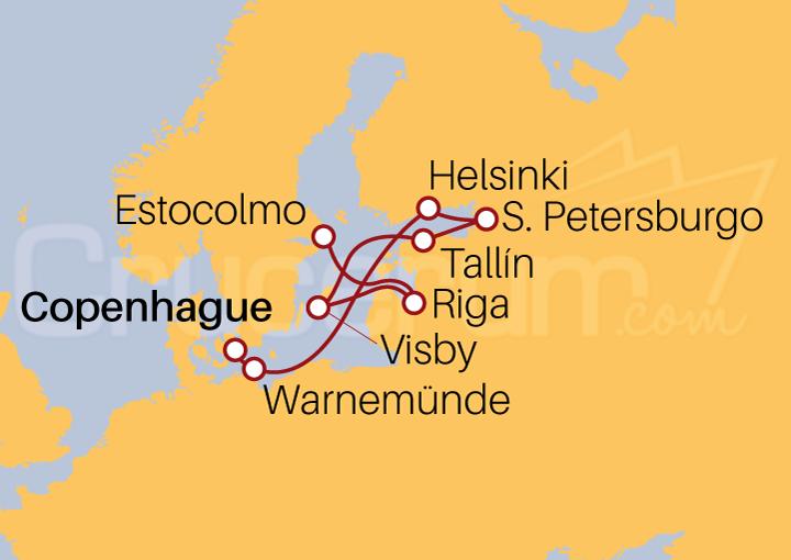 Itinerario Crucero Capitales Bálticas, de Copenhague a Estocolmo