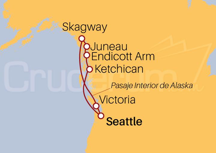 Itinerario Crucero Fiordo Endicott desde Seattle