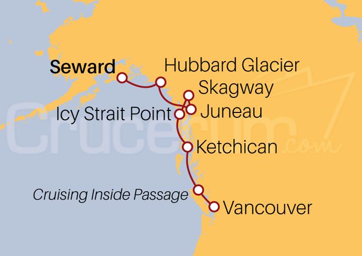 Itinerario Crucero De Seward a Vancouver por Pasaje Interior
