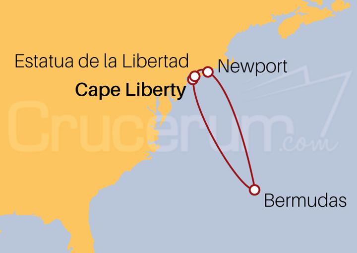 Itinerario Crucero Estatua de la Libertad y Bermudas