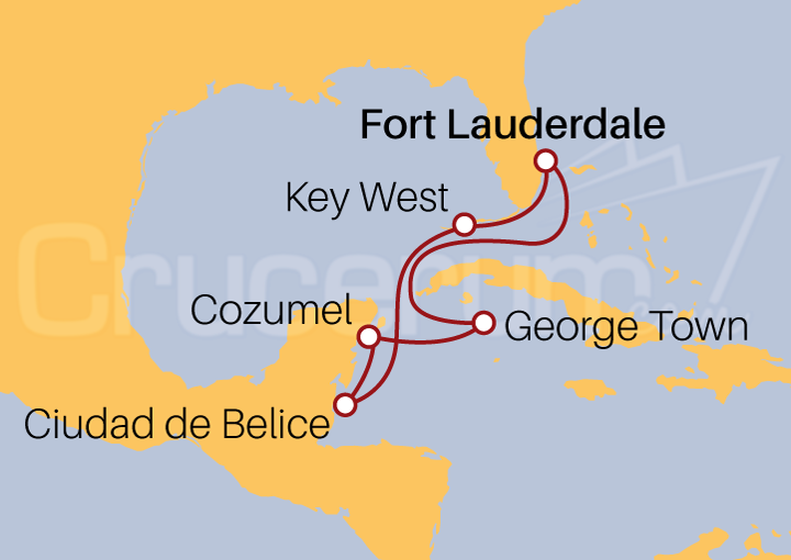 Itinerario Crucero Caribe Occidental desde Fort Lauderdale