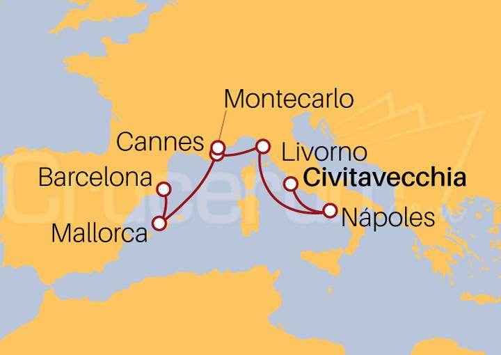 Itinerario Crucero Mediterráneo de Civitavecchia a Barcelona