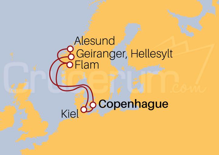 Itinerario Crucero Admirando los Fiordos Noruegos