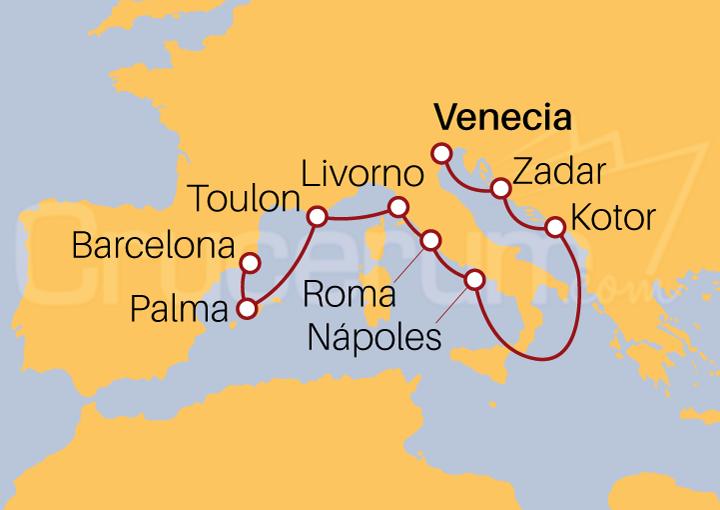 Itinerario Crucero Mediterráneo y Adriático desde Venecia