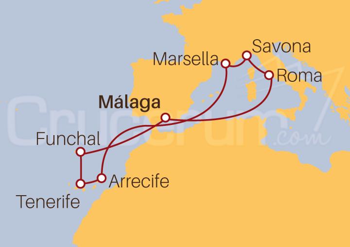 Itinerario Crucero Islas Canarias desde Málaga