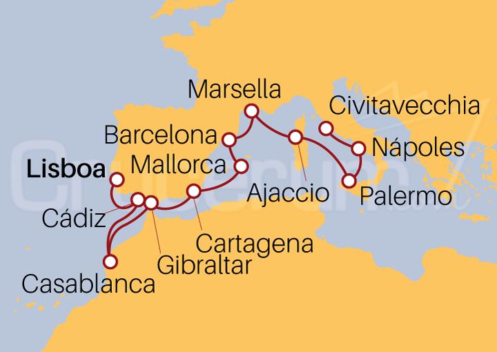 Itinerario Crucero De Lisboa a Roma