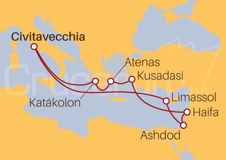 Itinerario Crucero De Roma a Grecia, Israel y Turquía