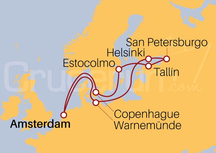 Itinerario Crucero Las Capitales Bálticas desde Amsterdam