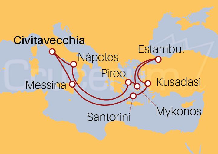 Itinerario Crucero Islas Griegas con Turquía desde Roma