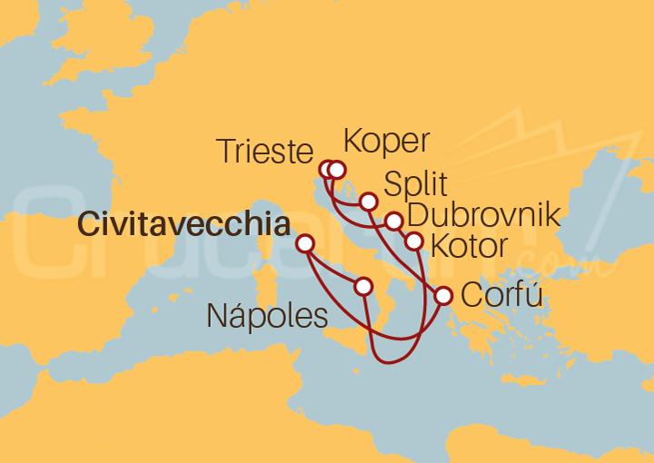 Itinerario Crucero El Adriático desde Civitavecchia