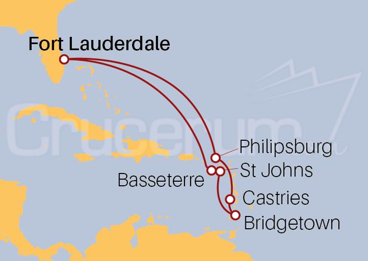 Itinerario Crucero Islas del Caribe Oriental