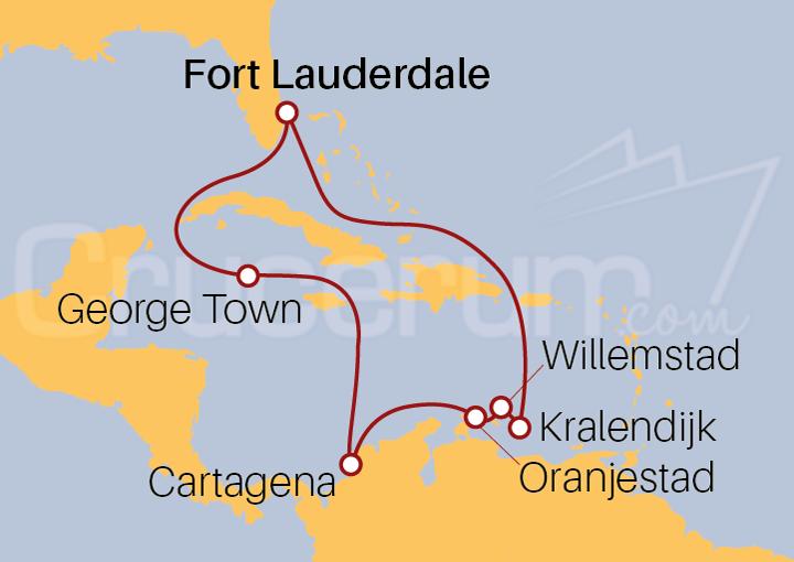 Itinerario Crucero Antillas Holandesas desde Fort Lauderdale