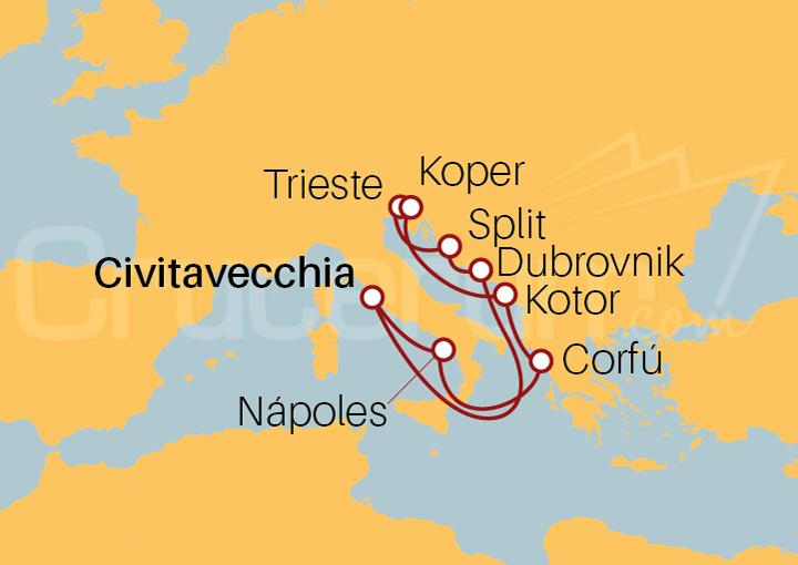 Itinerario Crucero Adriático desde Civitavecchia