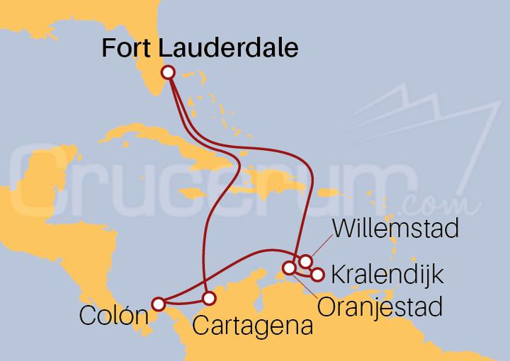 Itinerario Crucero Antillas Holandesas, con Cartagena y Colón