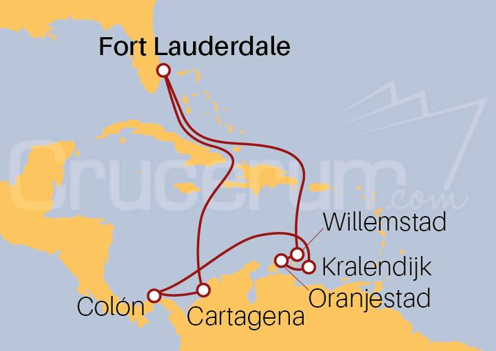 Itinerario Crucero Antillas Holandesas con Colón y Cartagena