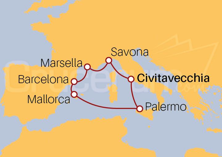 Itinerario Crucero Mediterráneo desde Roma (Civitavecchia)