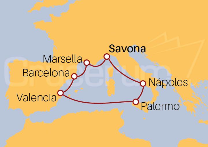 Itinerario Crucero Mediterráneo desde Savona