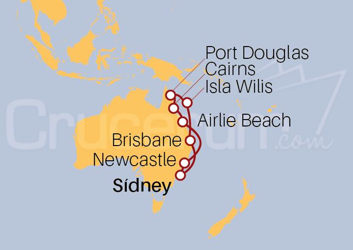 Itinerario Crucero Port Douglas, Cairns y Brisbane desde Sídney