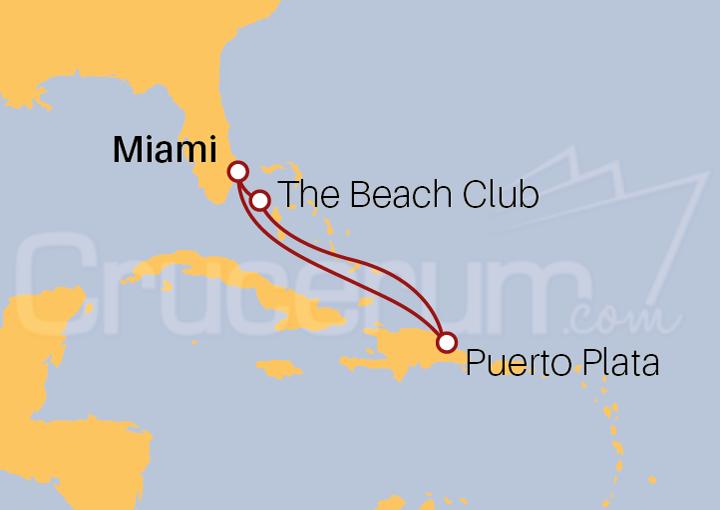 Itinerario Crucero Puerto Plata y Beach Club desde Miami